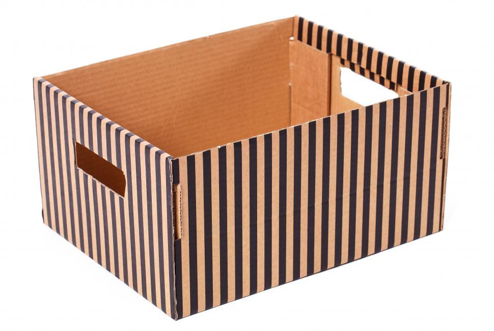Download Free Stock Photo of Striped box on a white background