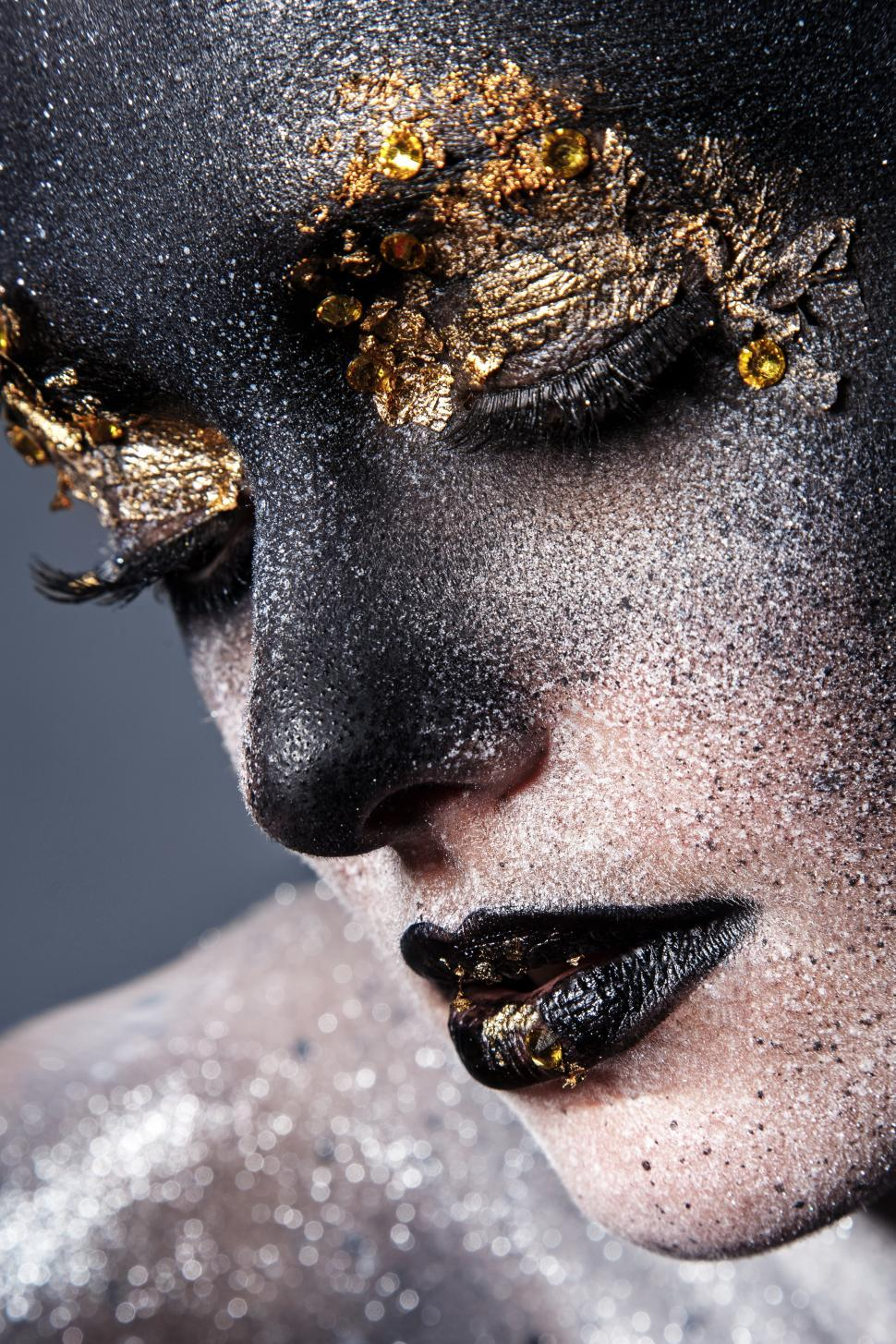 Download Free Stock Photo of Beautiful black and white and gold, artistic makeup