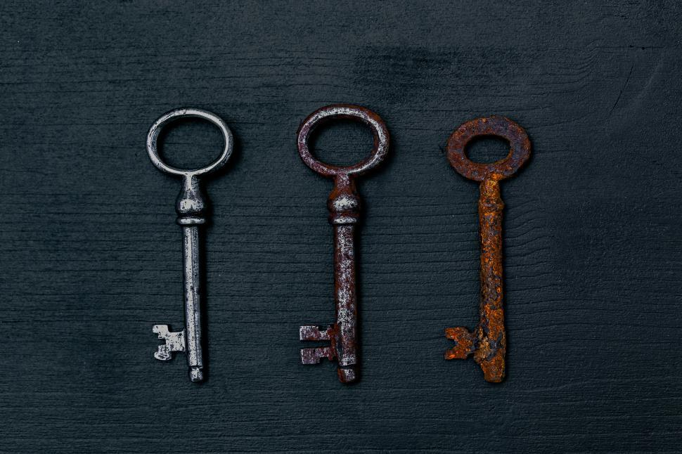 Download Free Stock Photo of Three rusting keys