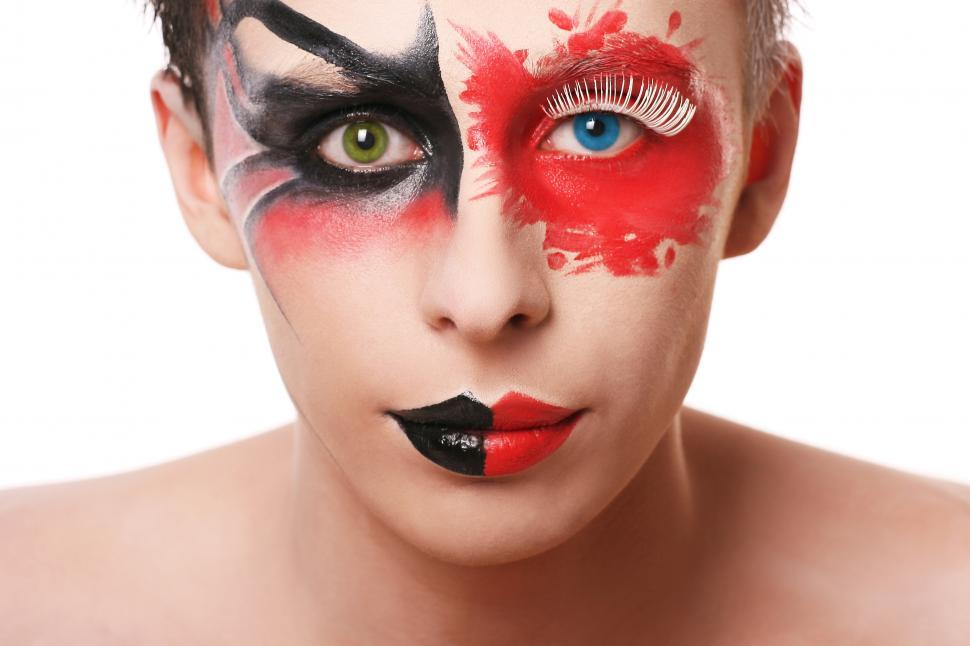 Download Free Stock Photo of Person with wild, abstract make up