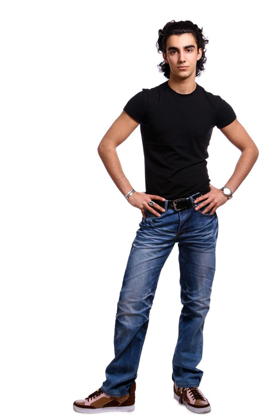 Download Free Stock Photo of Full body photo of young latino man