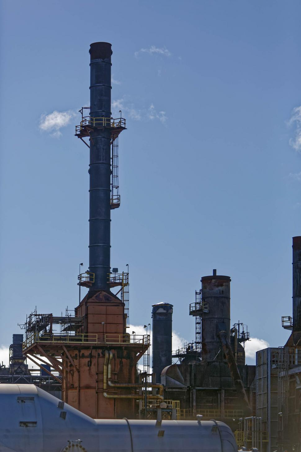 Download Free Stock Photo of Large stack at refinery