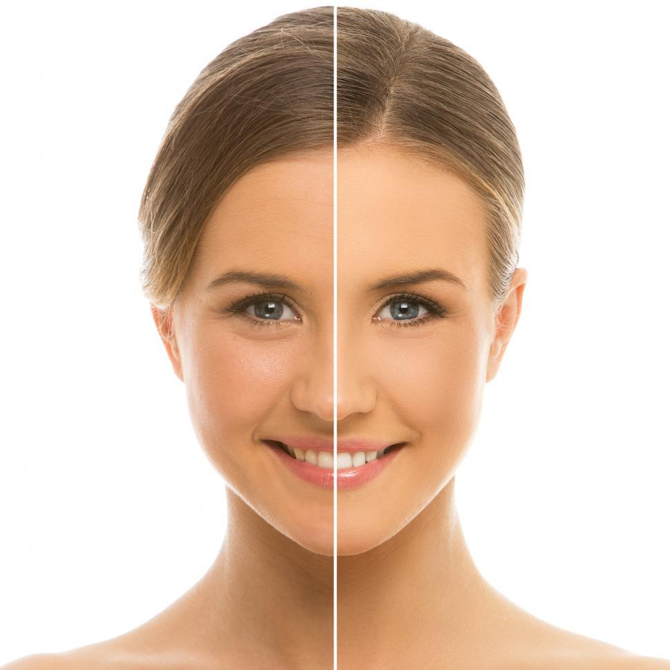 Download Free Stock Photo of Half and half, before and after split screen view of woman