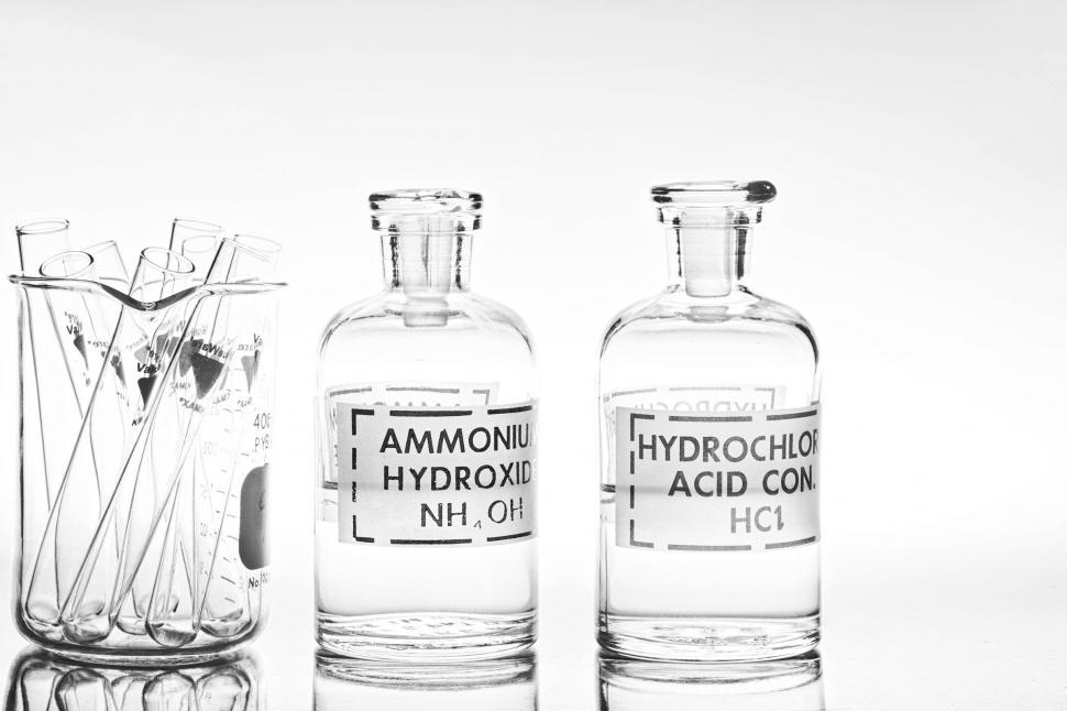 Download Free Stock Photo of Chemical glassware - bottles and test tubes