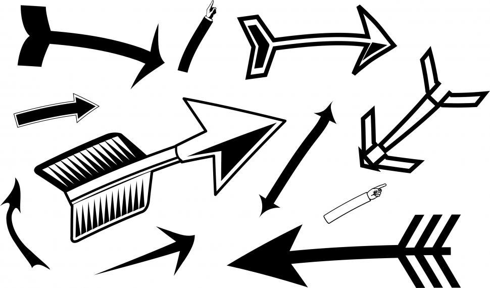 Download Free Stock Photo of Black Mixed Arrows Clipart Set
