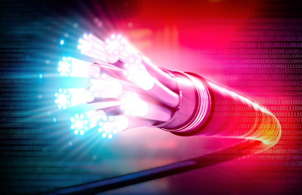 Download Free Stock Photo of Optical Fiber Cable with Binary Code - Connectivity - Fiber-Opti