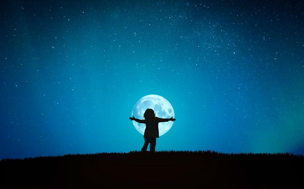 Download Free Stock Photo of Little Child Hugging the Moon - Child Embracing the Moon - Wonde