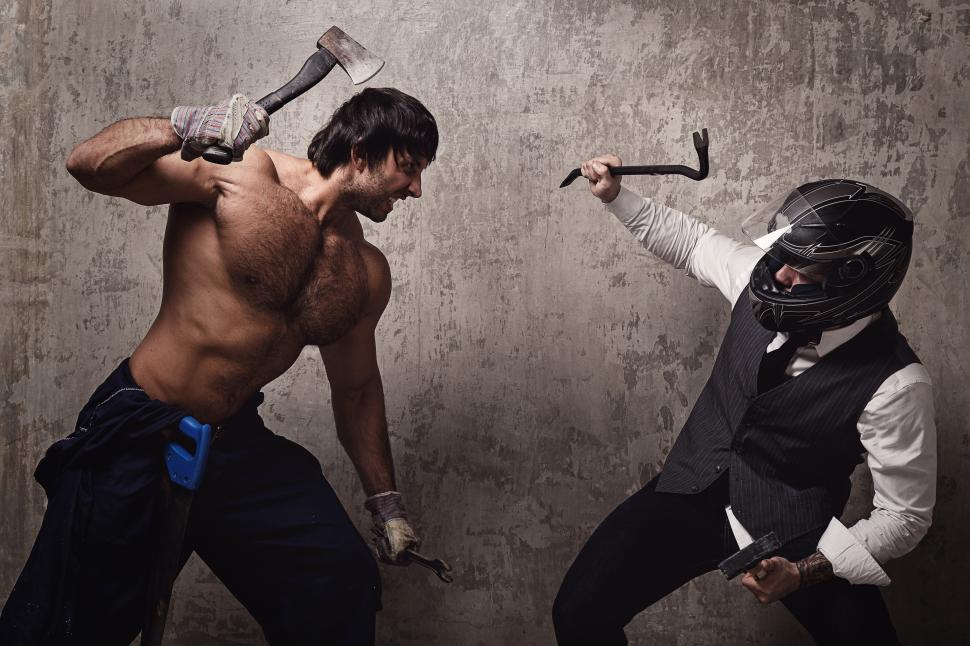 Download Free Stock Photo of A strange combat with axe and crowbar
