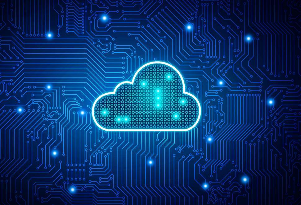 Download Free Stock Photo of Cloud Computing - Digital Cloud on Circuit Board