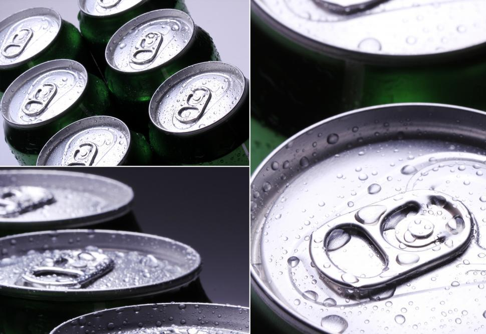 Download Free Stock Photo of Collage. Unopened soda cans with water drops