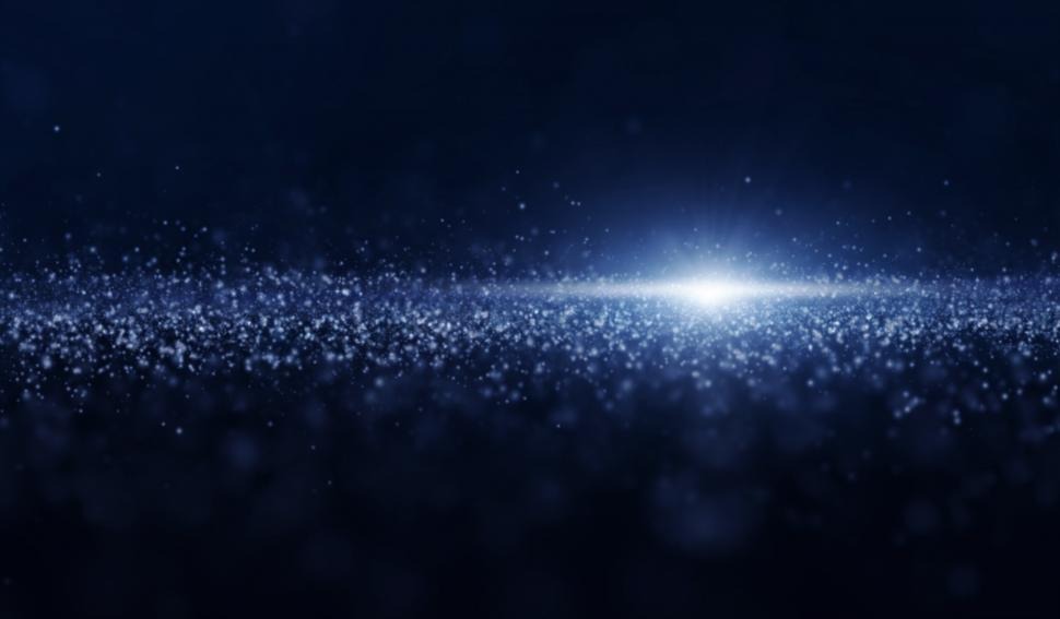 Download Free Stock Photo of Luminous Particles - Abstract Background - Blue