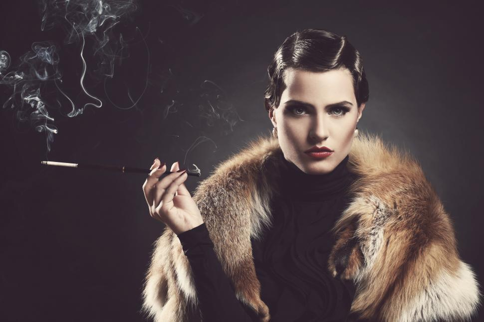 Download Free Stock Photo of Vintage, old. Beautiful woman with cigarette