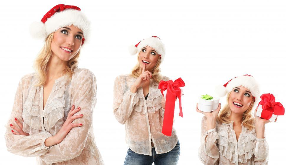 Download Free Stock Photo of Woman in holiday spirit, collage of three versions