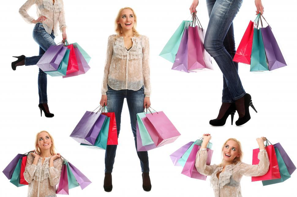 Download Free Stock Photo of Collage of woman shopping with bags