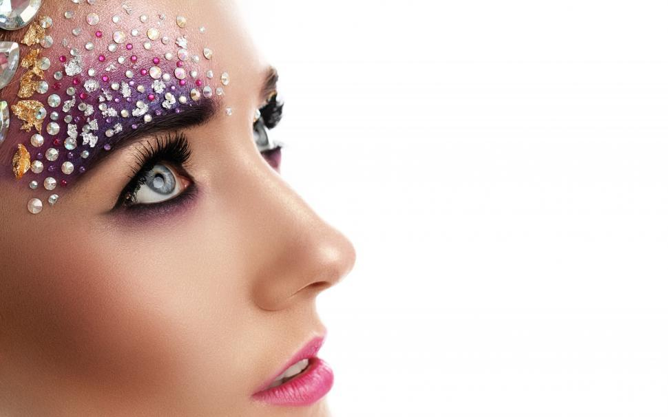 Download Free Stock Photo of Woman with glittery stones and artistic make-up