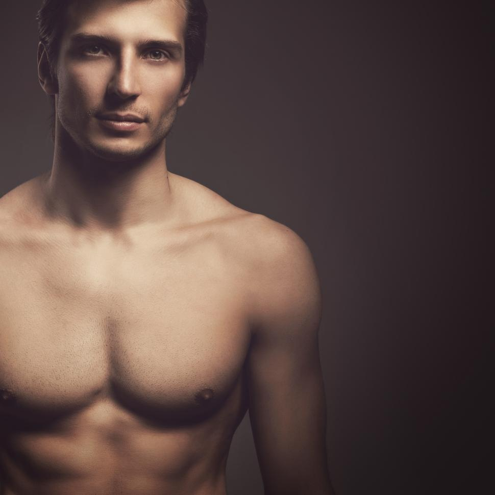 Download Free Stock Photo of Handsome guy with fit body, off center composition
