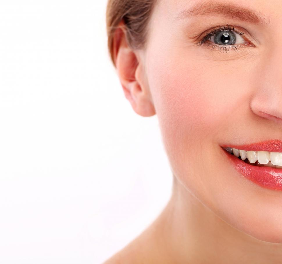 Download Free Stock Photo of Smiling woman, half in frame