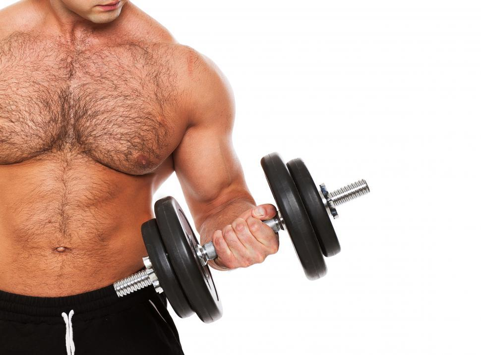 Download Free Stock Photo of Fitness. Man curling dumbbell