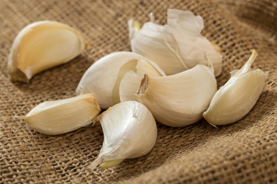 Download Free Stock Photo of Cloves of garlic, unpeeled
