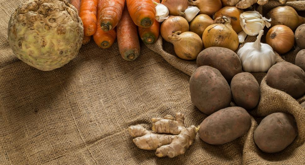 Download Free Stock Photo of Vegetables on burlap frame copyspace