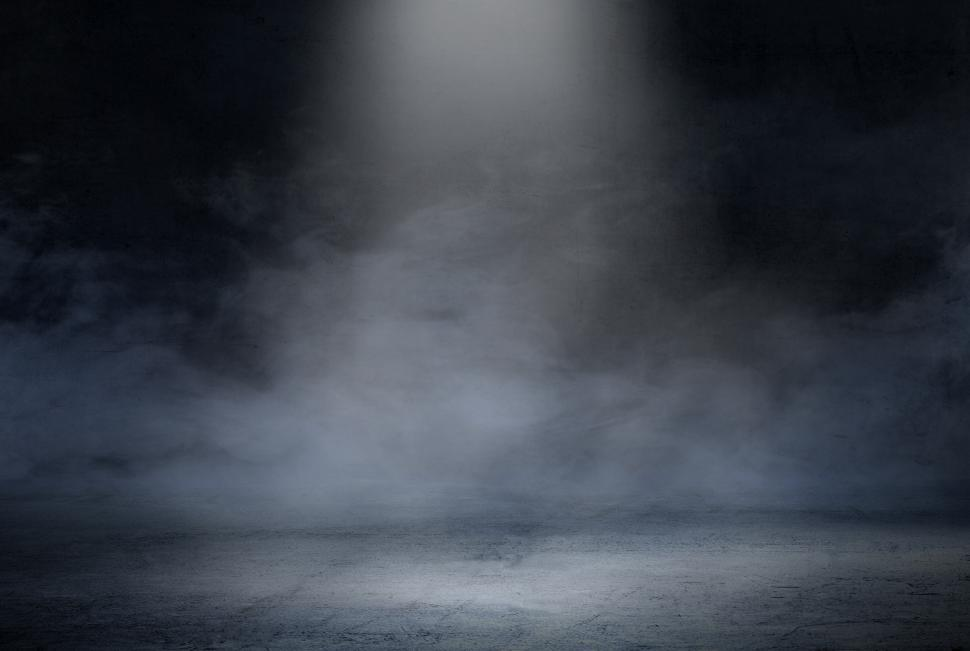 Download Free Stock Photo of Dark Room with Spotlight and Concrete Floor - Smoky Background