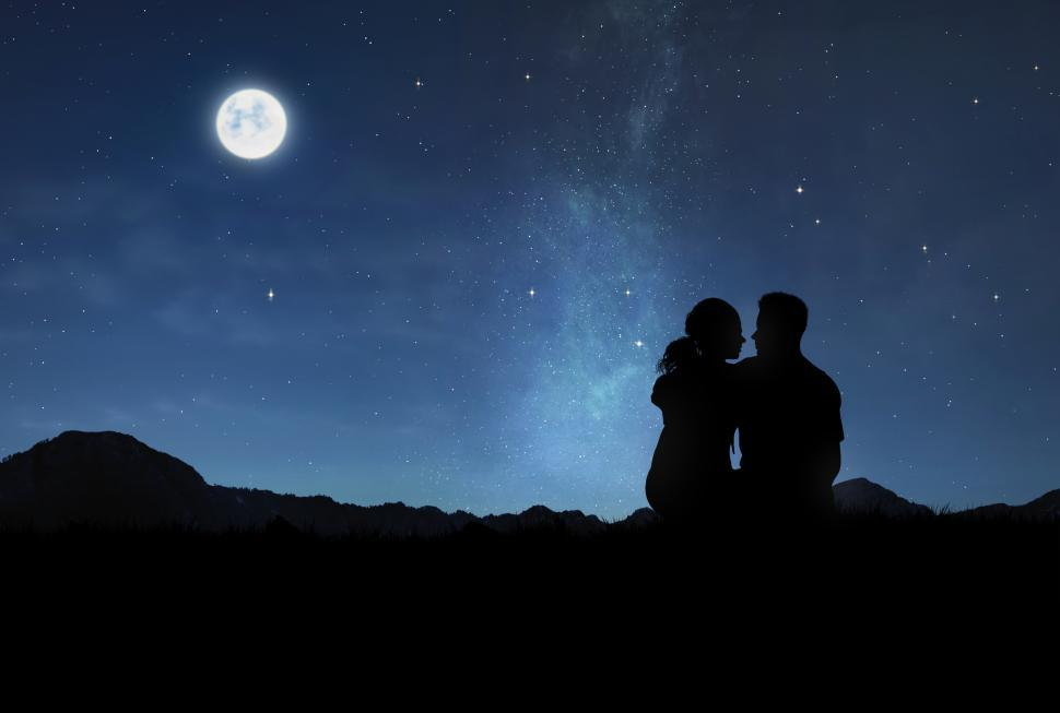Download Free Stock Photo of Lovers Under the Moonlight - Romantic Couple Watching the Night