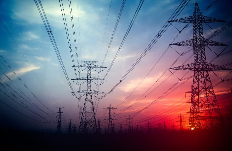 Download Free Stock Photo of High Voltage Power Lines - Electricity Transmission