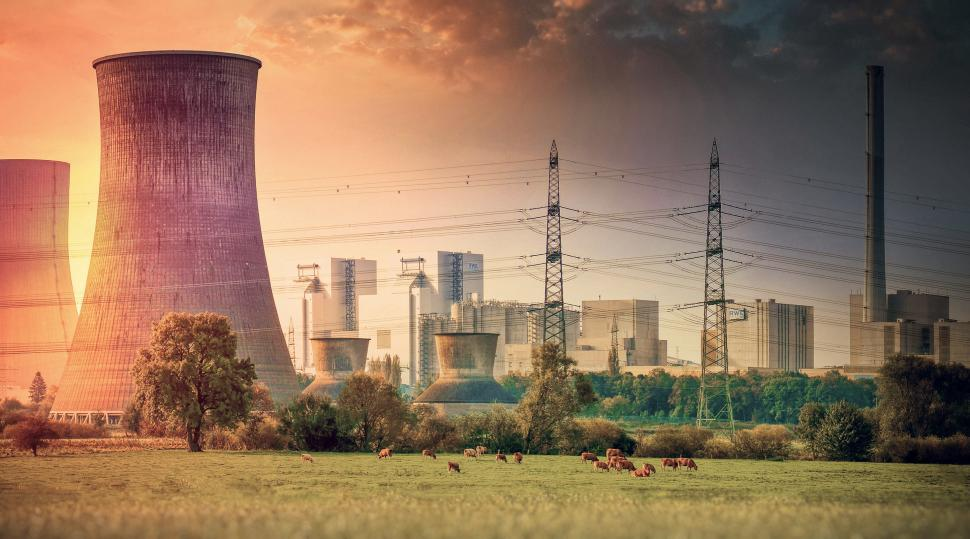 Download Free Stock Photo of Industrial Landscape - Power Plant with Cows Grazing Nearby