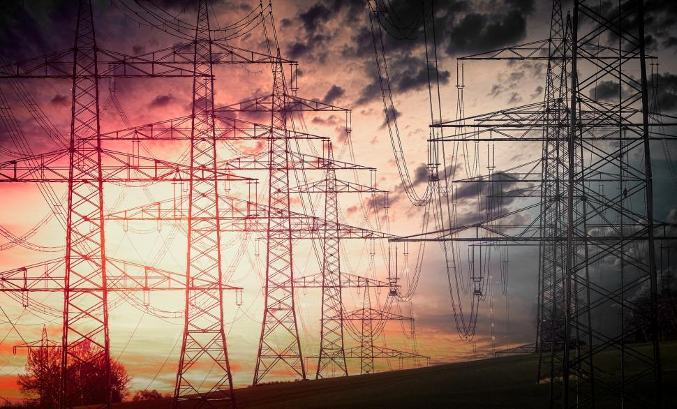 Download Free Stock Photo of Power Lines - High Voltage - Electricity