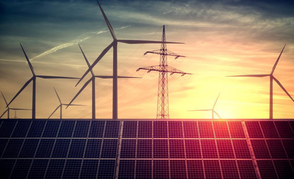 Download Free Stock Photo of Renewable Sources of Energy - Solar Energy - Wind Energy
