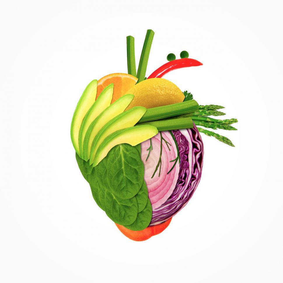 Download Free Stock Photo of Healthy Eating - Heart Made of Fresh Fruits and Vegetables