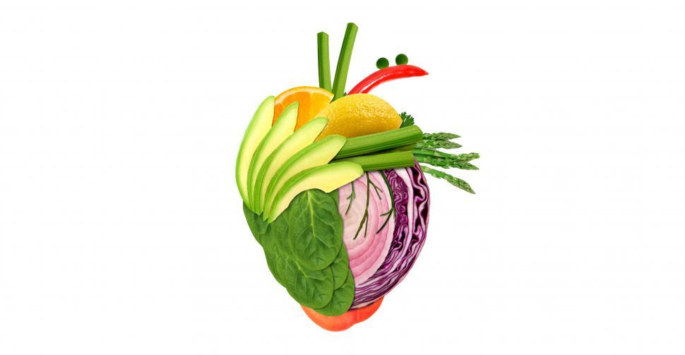Download Free Stock Photo of Healthy Eating Concept - Heart Made of Fresh Fruits and Vegetabl