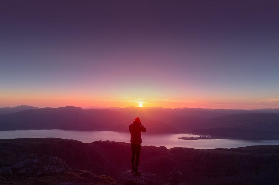 Download Free Stock Photo of Hiker on Top of Mountain Watching the Sunset - Outdoors