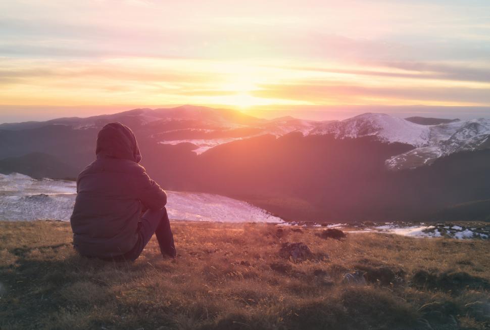 Download Free Stock Photo of Hiker Sitting on Top of Mountain Enjoying the Sun Rising