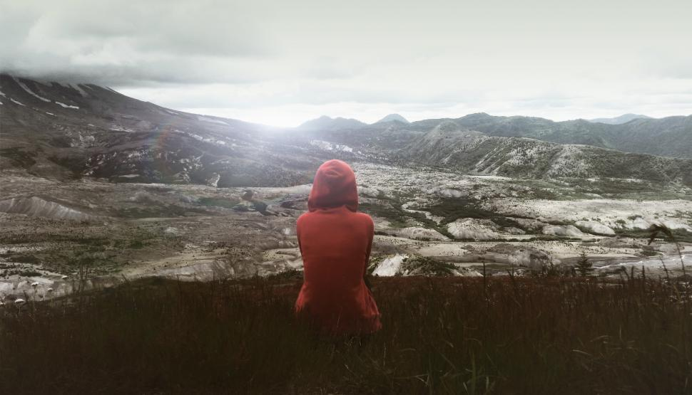 Download Free Stock Photo of Hiker Sitting on Grass Enjoying the Solitude
