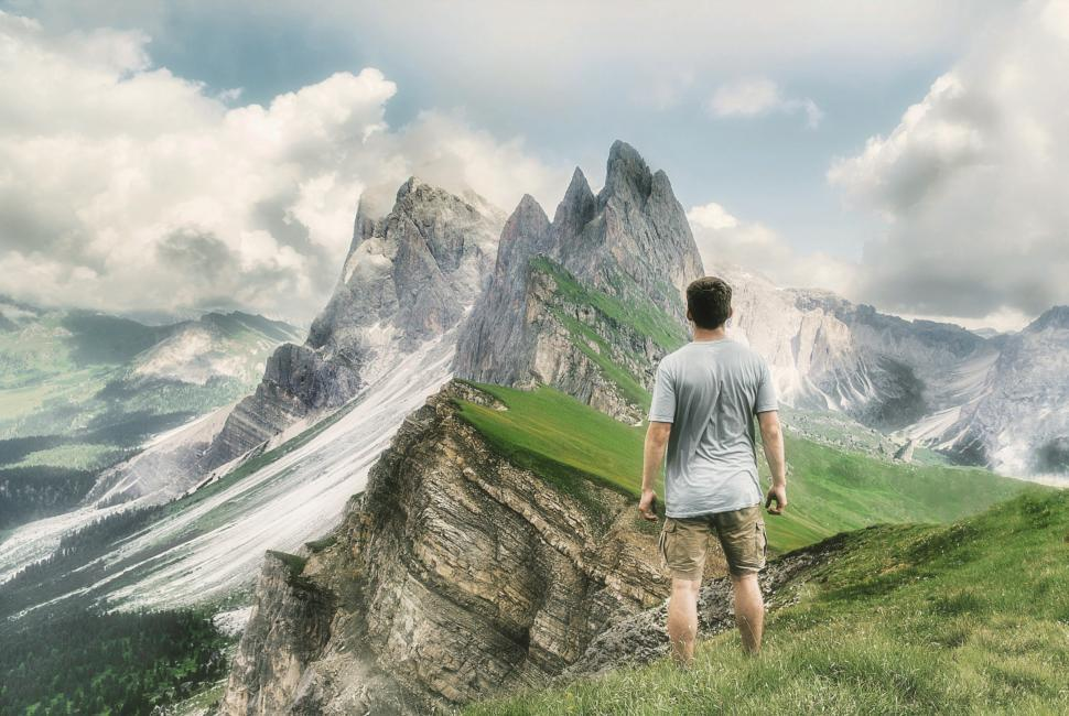 Download Free Stock Photo of Lone Hiker Looking at Mountain Summit - Great Outdoors