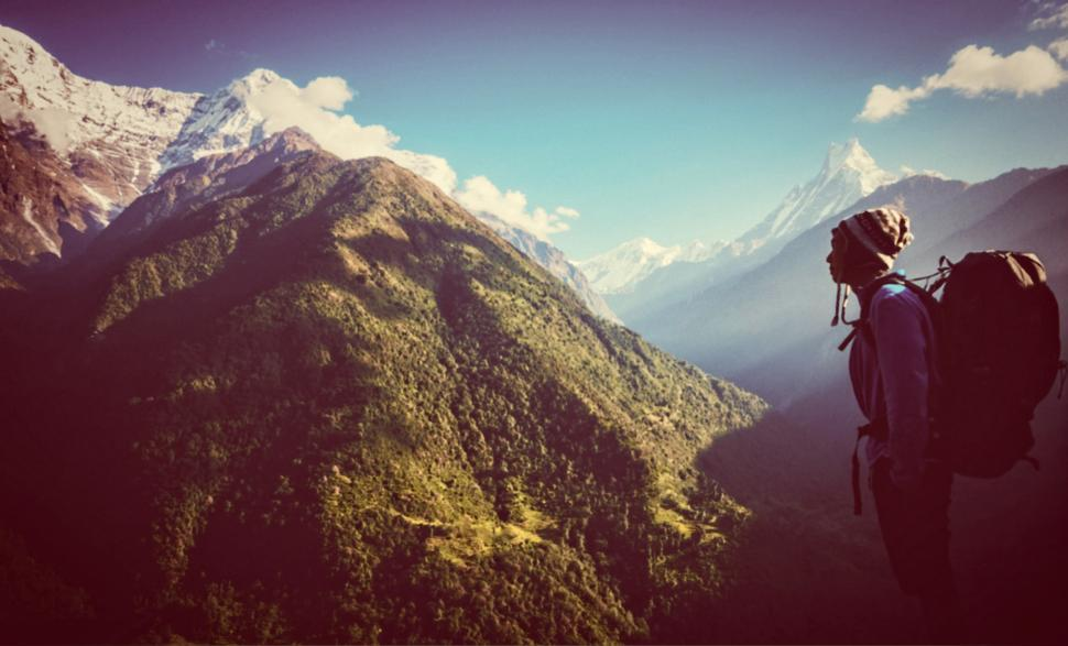 Download Free Stock Photo of Hiker Facing the Mountains - High Altitude - Hazy Looks