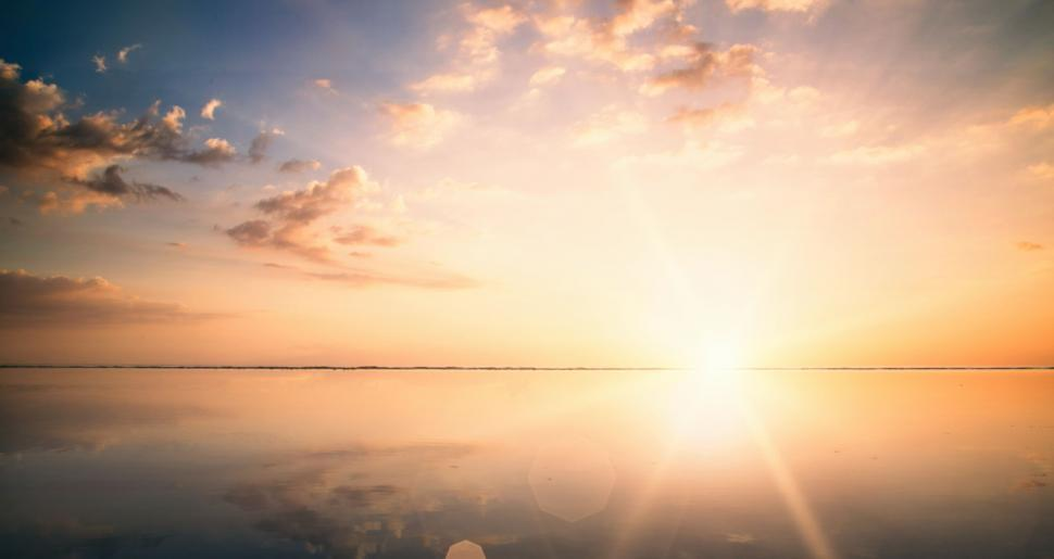 Download Free Stock Photo of Water Reflections on the Beach - Bright Sunset