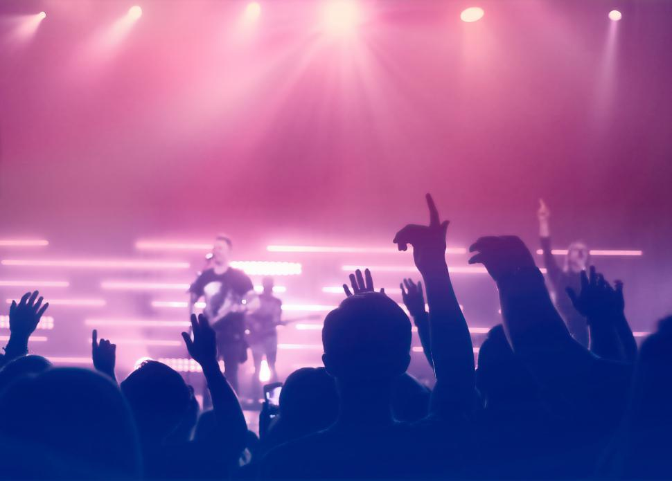 Download Free Stock Photo of Concert - People Silhouettes Backlit by Stage Lights