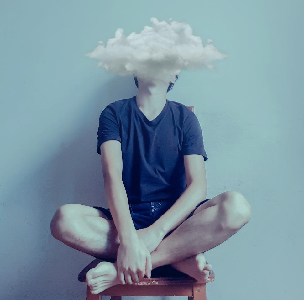 Download Free Stock Photo of Feeling Blue - Sadness - Teen with Dark Clouds Over Head