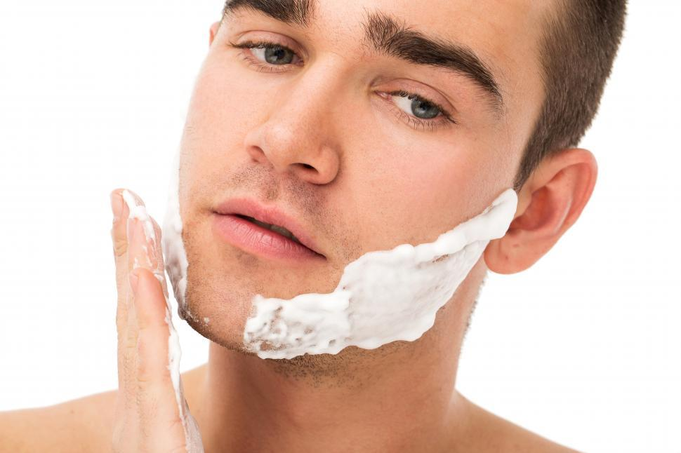 Download Free Stock Photo of Face care - applying shaving cream