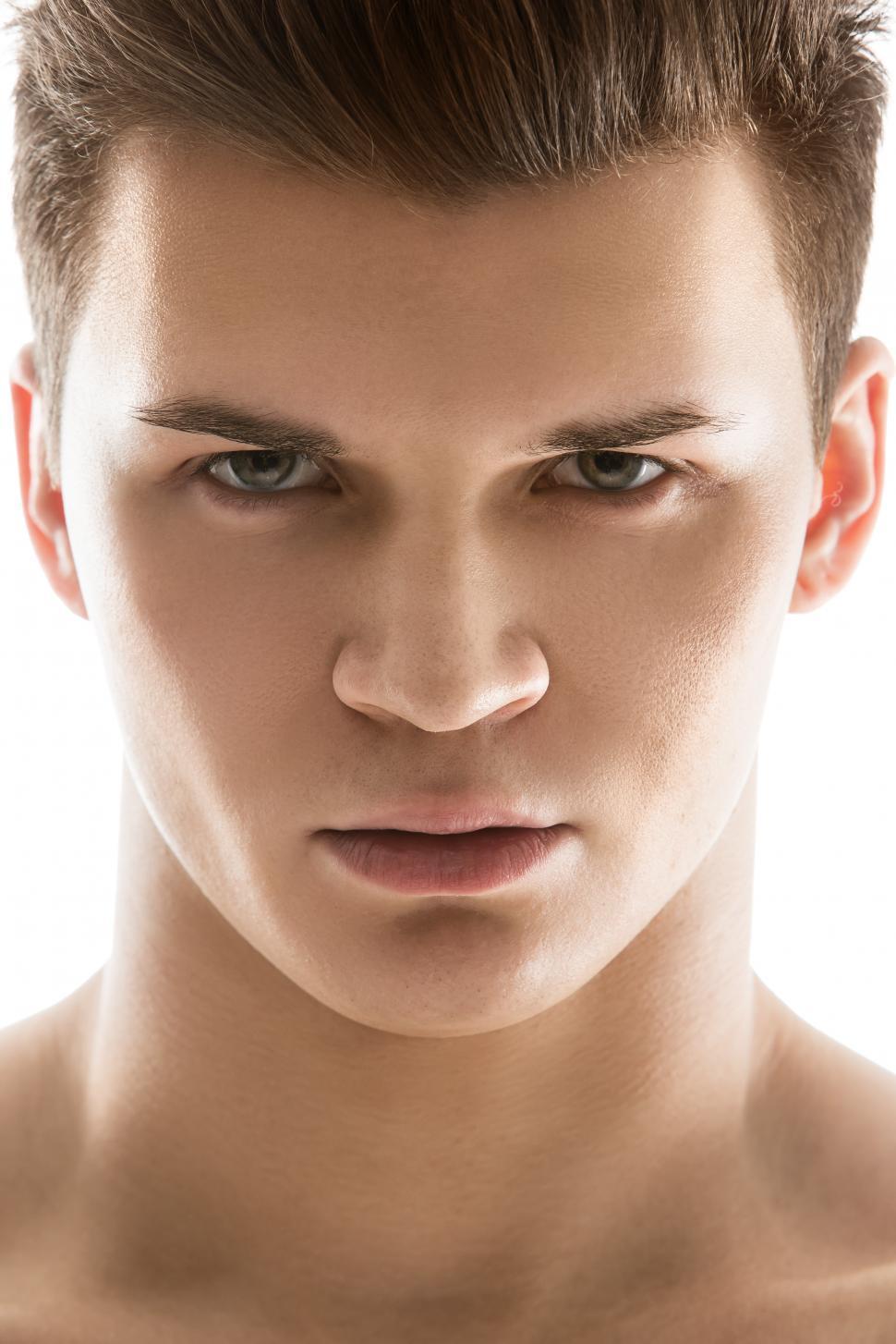 Download Free Stock Photo of Dramatic headshot of man on white background