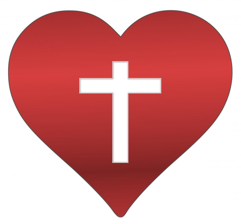 Download Free Stock Photo of Red Heart with Cross Cutout