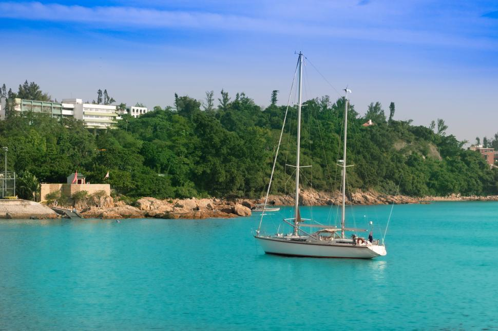 Download Free Stock Photo of bay view with salboat