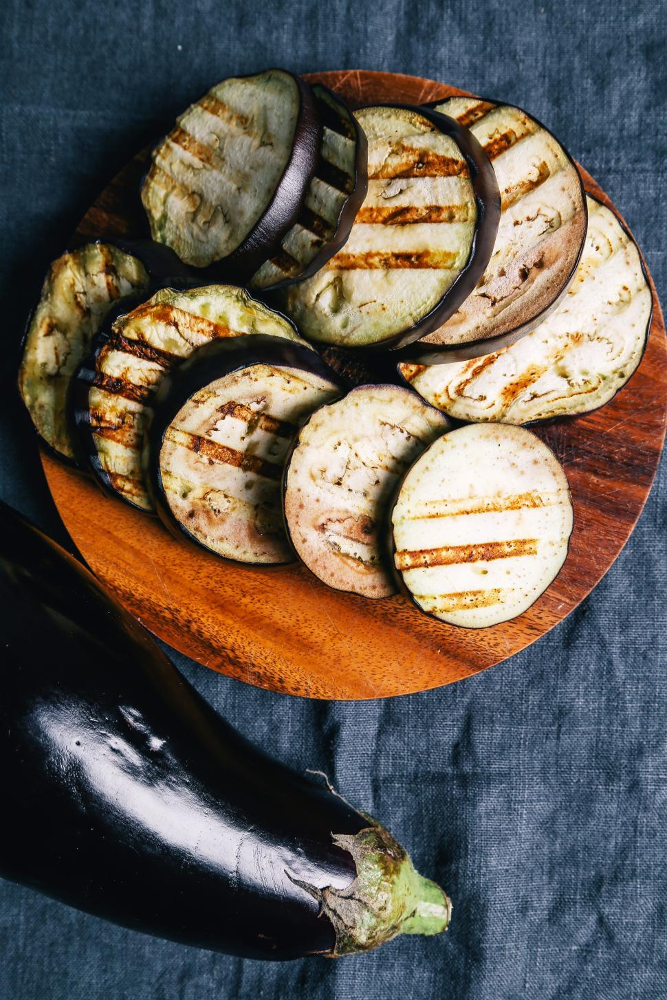 Download Free Stock Photo of Grilled and sliced Eggplant