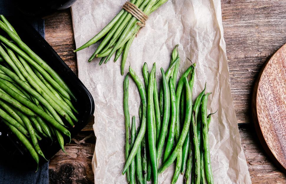 Download Free Stock Photo of Green beans, various arrangements