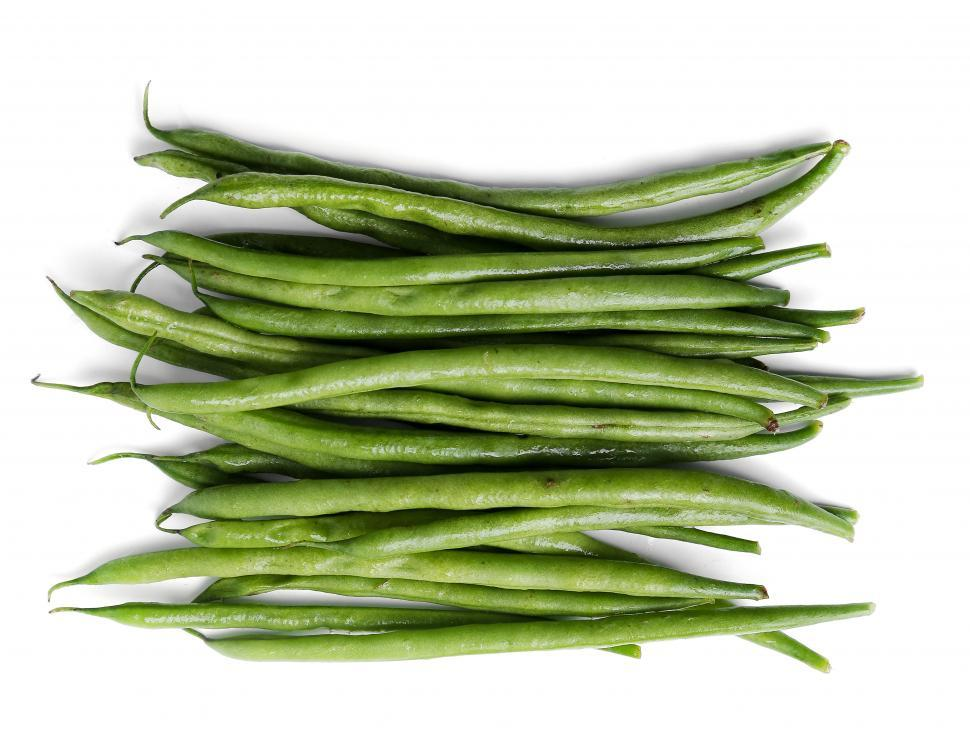 Download Free Stock Photo of Green beans, aligned on bright white background