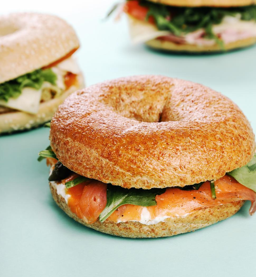 Download Free Stock Photo of Bagel sandwich with salmon and greens