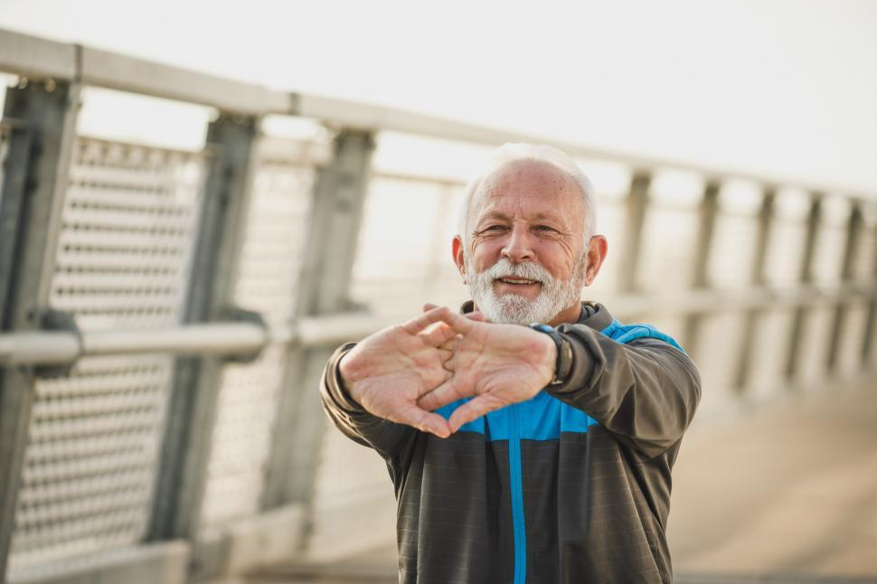 Download Free Stock Photo of Senior old man doing exercise