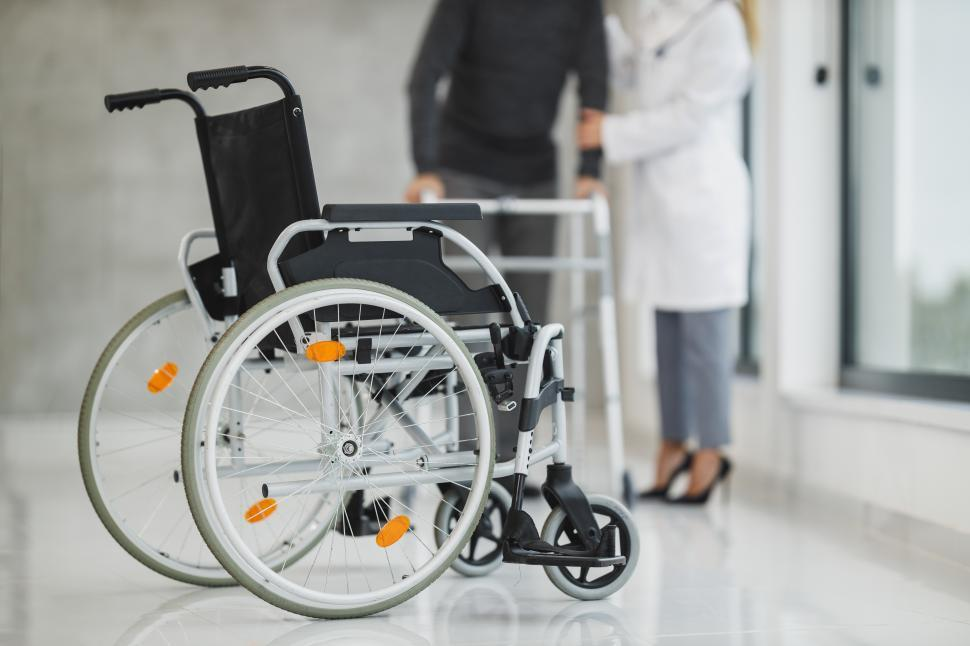 Download Free Stock Photo of Wheelchair in hospital